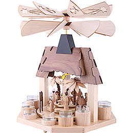 1-Tier Pyramid - Nativity Scene with Two Counter Rotating Winged Wheels - 41 cm / 16 inch