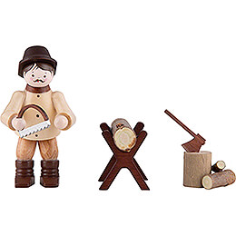 Thiel Figurine - Woodsman Sawing - natural - Set of Three - 6 cm / 2.4 inch