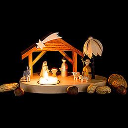 Teelichthalter mit Weihnachtskrippe - 11 cm