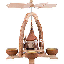1-Tier Pyramid with Seiffen Church and Carolers - 25 cm / 9.8 inch