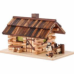 Traditionelles Rauchhaus Waldhütte mit Waldarbeiter - 10 cm