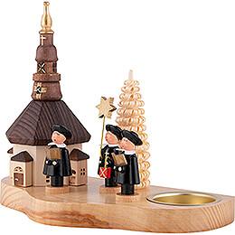 Teelichthalter mit Seiffener Kirche und Kurrende - 12 cm