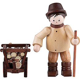 Thiel Figurine - Woodsman with Handcart - natural - 6,5 cm / 2.6 inch