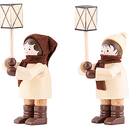Thiel Figurines - Lantern Children - natural - Set of Two - 7 cm / 2.8 inch