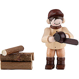 Thiel Figurine - Chainsaw Worker - natural - Set of Two - 6 cm / 2.4 inch