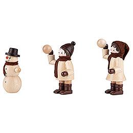 Thiel-Figur Schneeballwerfer mit Schneemann - natur - 3-teilig - 6 cm