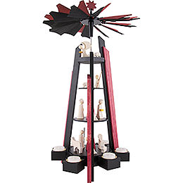 4-Tier Pyramid - for Teacandles with Nativity Scene. Black and Red - 60 cm / 23.62 inch