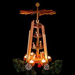 4-stöckige Teelichtpyramide mit Krippenfiguren, rosenholz - 60 cm