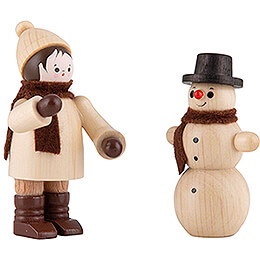 Thiel Figurine - Snowman Builder with Snowman - natural - Set of Two - 6 cm / 2.4 inch