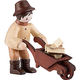 Thiel Figurine - Forest Man with Wheelbarrow - natural - 6 cm / 2.4 inch