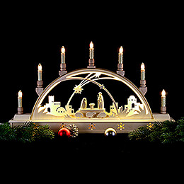Candle Arch - 'Nativity' with LED Interior Lights - 63x35 cm / 25.6x13.8 inch