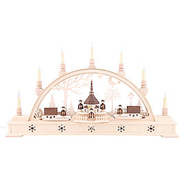 Candle Arch - 'Church of Seiffen with Carolers' with LED Interior Lights - 63x35 cm / 25.6x13.8 inch