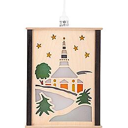 Fensterlaterne Seiffener Kirche - 27 cm