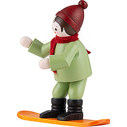 Thiel Figurine - Winter Child with Snowboard - coloured - 6,5 cm / 2.6 inch