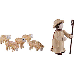 Thiel Figurines - Shepherd with 5 Sheep - natural - 6 cm / 2.4 inch