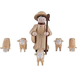 Thiel-Figuren Hirte mit 5 Schafen - natur - 6 cm