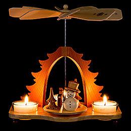 1-stöckige Pyramide Schneemann natur - 18,5 cm
