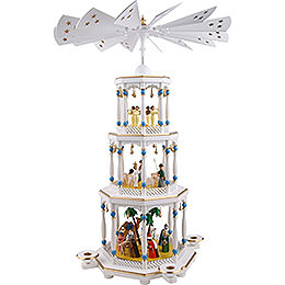 3-stöckige Pyramide Christi Geburt, weiß - 76 cm