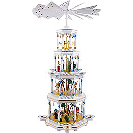 4-stöckige Pyramide Christi Geburt, weiß - 94 cm
