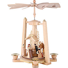 1-stöckige Pyramide Christi Geburt - natur - 29 cm