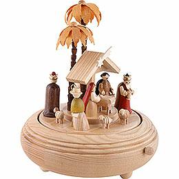 Spieldose Christi Geburt natur - 20 cm