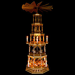 5-Tier Pyramid - Nativity Scene - Natural Wood - 123 Cm/48 inch