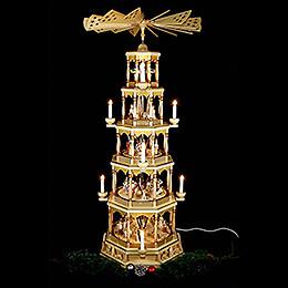 5-stöckige Pyramide Christi Geburt - natur - 123 cm