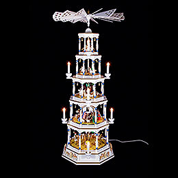 5-Tier Richard Glässer Christmas Pyramid - Romantic - White - 123 cm / 48 inch