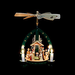 1-Tier Pyramid - Nativity Scene Green - 27 cm / 11 inch
