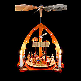 1-Tier Pyramid - Nativity Scene Natural Wood - 40 cm / 16 inch