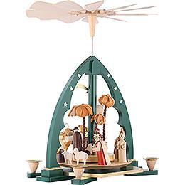 1-stöckige Pyramide Christi Geburt grün - 40 cm