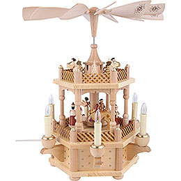 2-Tier Pyramid - Nativity Scene Natural Wood - 33 cm / 13 inch