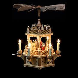 2-stöckige Pyramide Christi Geburt natur - 33 cm