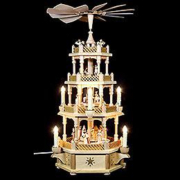 4-stöckige Pyramide Christi Geburt natur - 59 cm