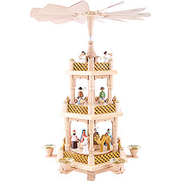 3-Tier Pyramid - Nativity Scene Painted - 40 cm / 16 inch