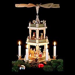 3-stöckige Pyramide Christi Geburt natur - 40 cm
