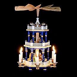 3-stöckige Pyramide Christi Geburt blau - 40 cm