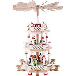 3-stöckige Pyramide Christi Geburt weiß - 40 cm