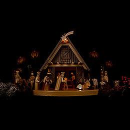 Weihnachtskrippe beleuchtet - 24x50 cm