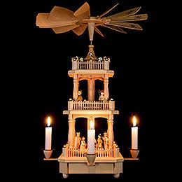 3-stöckige Pyramide Christi Geburt natur - 45 cm