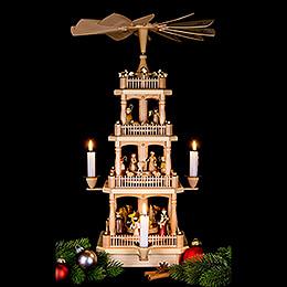 4-stöckige Pyramide Christi Geburt natur - 45 cm