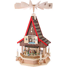 2-Tier Adventhouse Electrically Driven Nativity Scene by Richard Glässer- 53 cm / 21 inch