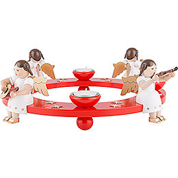 Tea Light Wreath - Angel Foursome - Red - 12 cm / 4.7 inch