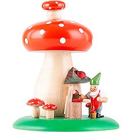 Räucherhaus Fliegenpilz mit Zwerg - 12,5 cm