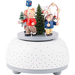 Music Box Children in Winter - 12 cm / 5 inch