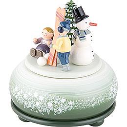 Spieldose Winterfreuden Ski - 14 cm