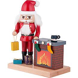 Nussknacker Weihnachtsmann mit Räucher-Kamin - 22 cm