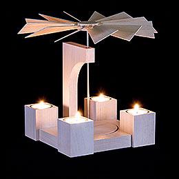 1-stöckige Pyramide Eiche weiß modern ohne Bestückung - 24 cm