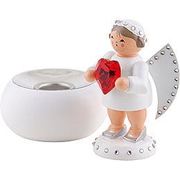 Liebesbote mit rotem SWAROVSKI-Herz und Lichtsockel - 8 cm