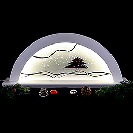 Schwibbogen Erle weiss mit Glas und roter Tanne - 79x14x35 cm